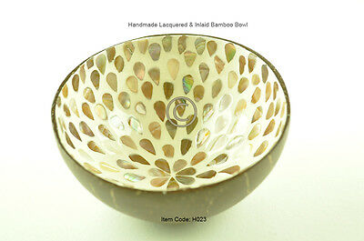 Handmade Decorative Coconut Bowl, Lacquered & Inlaid With Sea-Shell, Cream, H023