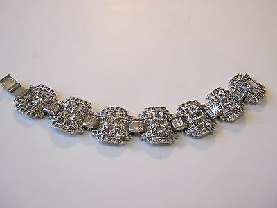 1920's Art Deco paste clear rhinestone bracelet, linked rhinestone bridges