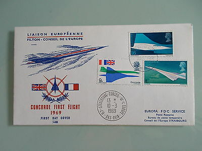 Fdc First Day Cover Concorde First Flight 1969 Filton Conseil De L'europe Europa