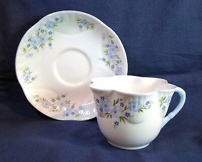 Vintage CROWN STAFFORDSHIRE TEA CUP & SAUCER ROCK GARDEN Dainty Style Bone China