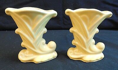 2 Little Shawnee Cornucopia Vases Yellow  4 3/4 ins.