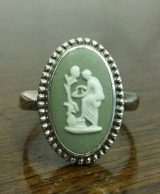Wedgwood Jasper Ware Ring Sterling Silver Size O