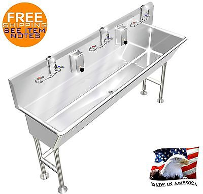 """Wash Up Hand Sink 3 Users 72""""l 12"""" Bowl Deep Manual Faucet Free Standing"""