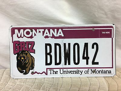 "Montana Specialty Plate ""the University Of Montana  Griz""   Bdw042"