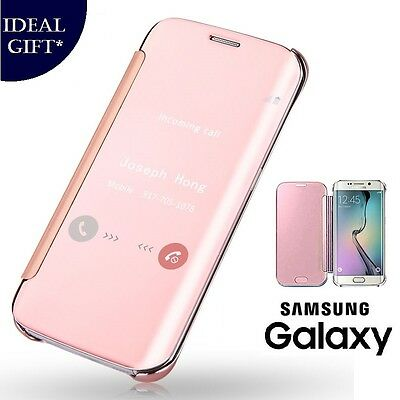 Rose Gold Mirror Flip Leather Protect Case Cover For Samsung Galaxy S7