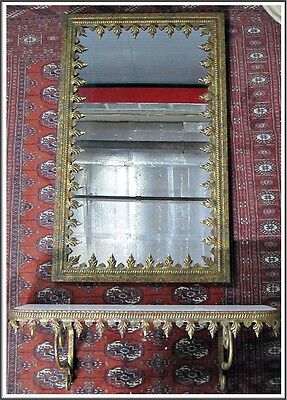 Antique French Gold Iron Metal Framed Mirror Matching Marble Top Console