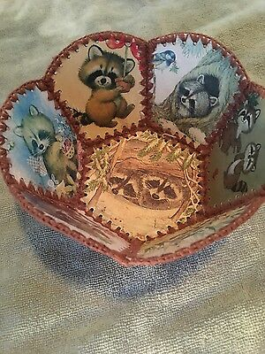 Vintage Crochet Christmas Card Bowl/Basket Racoon Fun