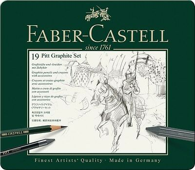 Faber-Castell 19 Pitt Graphite Set in SEALED Tin Box 112973 FREE SHIP