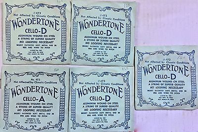 Five (5) Wondertone Vintage Cello Strings: four D strings and one A string
