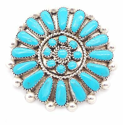 Zuni Sterling Silver Turquoise Petit Point Cluster Pendant/Pin - Martha Toshowna