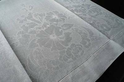 Antique Large Irish Linen Damask Bath Towel Art Deco Floral Scrolls