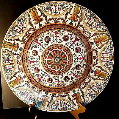 """16"""" Oriental Accent Charger Plate Platter Great Detail Red Yellow Green Gold"""