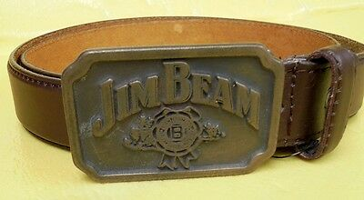 Jim Beam Metal Belt Buckle On Brown Leather Belt Never Worn