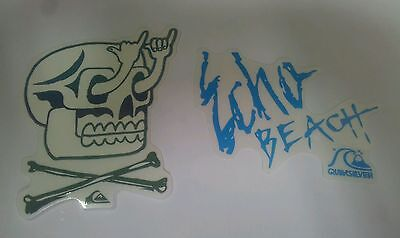2 Quiksilver Echo Beach Gnarly Skull Stickers Decal Black Blue