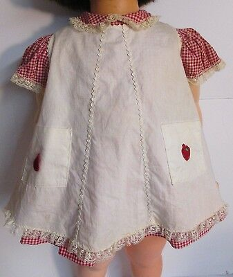 1959-60 IDEAL Red Check Dress, White Pinafore & Panties for Patti Playpal Doll