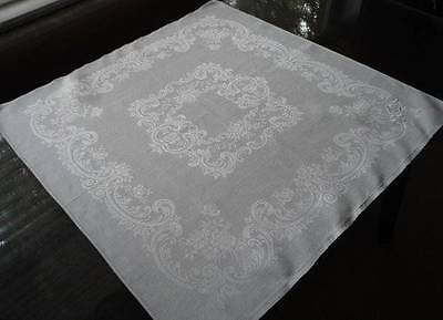 6 Large Antique Irish Linen Damask Napkins Roses Scrolls Triple Monogram
