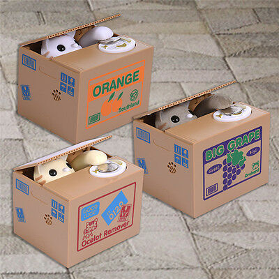 Automatic Stealing Coin Cat Kitty Piggy Bank Money Saving Box Sweet Great Gifts