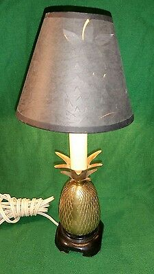 "andrea by sadek vintage small brass pineapple lamp 8"" high"