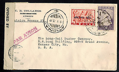 Greece 1945 Censored Multifranked Air Mail Cover*athens To Kansas City, Missouri
