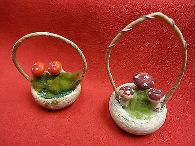 2  Christmas Ornament Baskets with Mushrooms