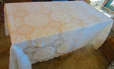 """Vtg.Antique Linen filet Lace Tablecloth,Madeira Embroidery Roses Banquet 104"""""""