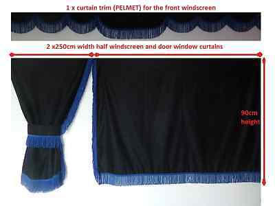 Truck Side  Curtains Black With Blue Strings Volvo,man,daf,mercedes,scania,iveco