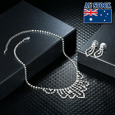 925 Silver Plated Clear Crystal Necklace Pendant Earrings Bridal Jewelry Set
