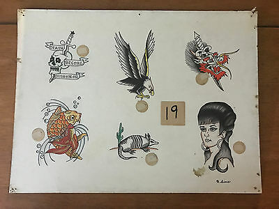 Authentic Vintage Old School US Tattoo Flash Richard Sims SIGNED #19