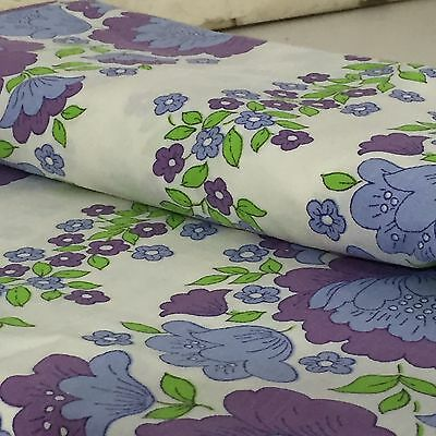 OH MY VINTAGE COTTON SHEET & Fitted FABRIC 70's RETRO CRAFT X 2 Purple