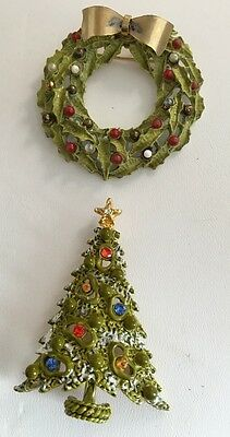 Vintage Christmas Pins ART Christmas Tree Rare Wreath Brooches