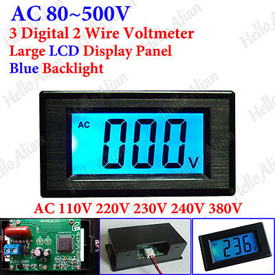 Mini AC 80-500V 3-Digital Voltmeter LCD Panel Volt Voltage Meter 110V 220V 380V