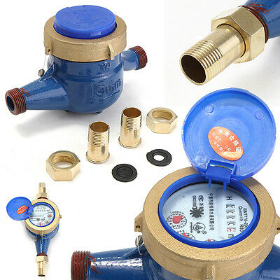 """1/2"""" DN15 Qn 2m³ / h Calibrated Domestic Measure Tape Water Meter Cold 30°C New"""