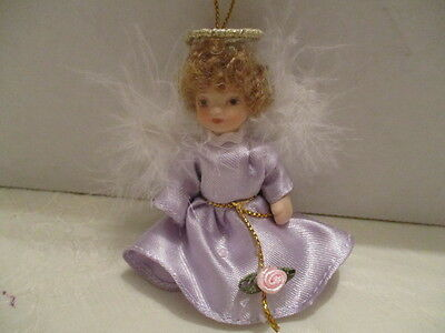 "Miniature 3"" H Porcelain Angel Doll Ornament Movable Arms/Legs Feather Wings"
