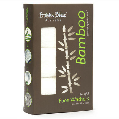 NEW Bubba Blue Bamboo Face Washer Pack 3pce