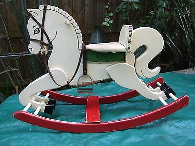 Vintage Carved  Solid Wood White Rocking Horse Enamel Painted C.1940's