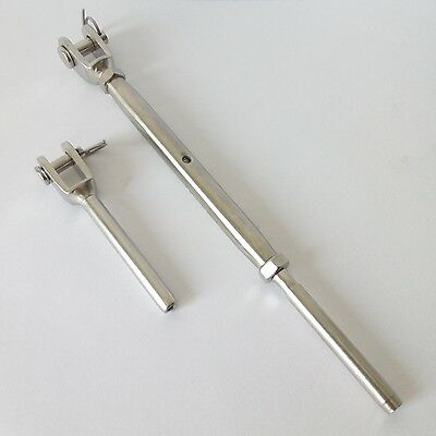 """Stainless Steel Swage Fork Turnbuckle Terminal Set for 1/8"""" Cable Railing System"""