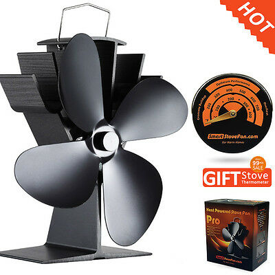 Free Gift Stove Thermometer with Heat Powered Stove Fan Wood Burning Stove Fan