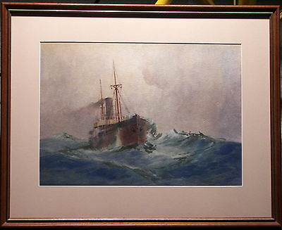 Fred Elliott (1864-1949) Original Painting Steamship Stormy Sea Sydney Harbour