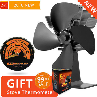 Circulate Warm Air 220CF/m 17% Fuel Save Heat Powered Eco Stove Fan+ Thermometer