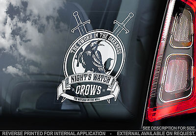 Night's Watch Crows - Car Window Sticker - Game of Thrones TV Series Badge Sign