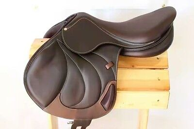 """New Jump Close Contact Leather Saddle With Tack Set 17"""""""