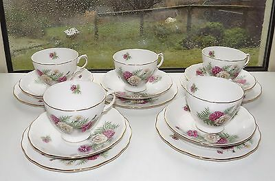 Vintage Crown Royal Bone China England Carnation 5 x Trios Cups Saucers Plates