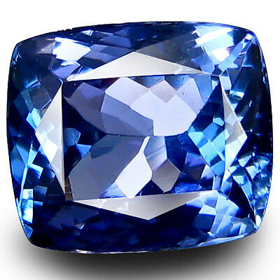 2.33cts IF Clarity Excellent Cushion Cut 8.5x7.4mm AAA D'Block Blue Tanzanite