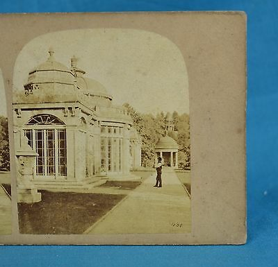 1850/60s Stereoview Photo Alton Towers View In The Gardens