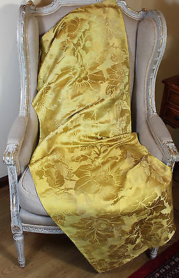 18th Century French Lyon Silk Damask Yellow Gold Flowers