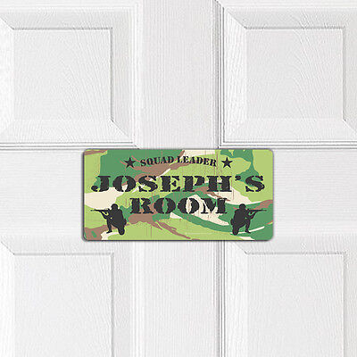MILITARY SQUAD LEADER personalised BEDROOM DOOR PLAQUE army boys name wall sign