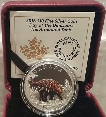 Dinosaurs Armoured Tank $10 2016 Pure Silver Proof Colour Coin Canada