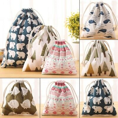 Cotton Drawstring Storage Bag Toy Shoes Laundry Bags Home Travel