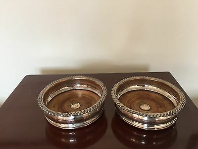 "Very Nice Pair Of Silver Plated On Copper Wine Coasters 6""  (Spc 333)"