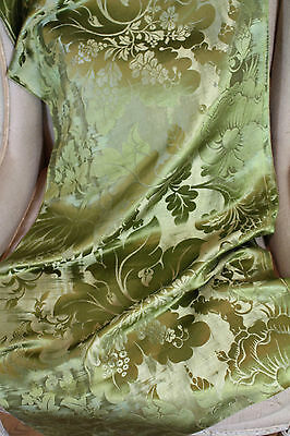 18th Century French Lyon Silk Damask Green Flowers